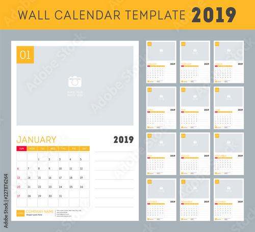 Calendar 2019 Set Desk Calendar Template Design Set Of 12 Months