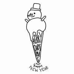 Snowman ice-cream cartoon vector illustration cute doodle style black and white color