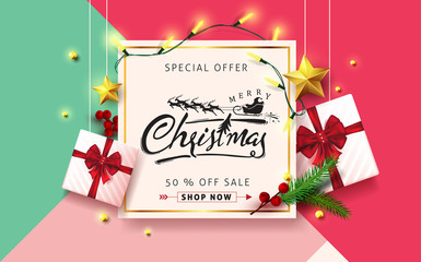 Wall Mural - Vector merry Christmas and happy New Year background design .Calligraphic Christmas lettering.Winter vector illustration template.