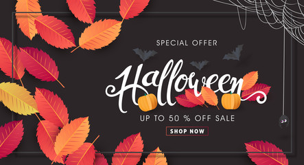 Happy Halloween banners party invitation background.Vector illustration .
