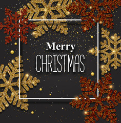Merry Christmas greeing card with beautiful shiny snowflakes.