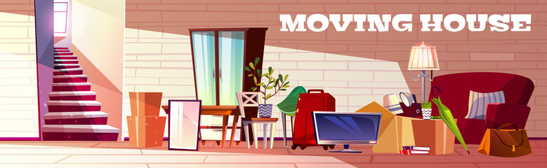 Moving house cartoon vector concept with box filled household stuff, luggage bags, home plants and furniture standing near stairs illustration. Gathering and transfer things on new apartment or house