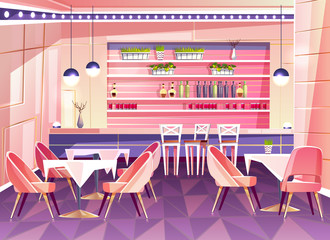 Vector cartoon cafe with bar counter - cozy interior with plants in pots, tables and chairs. Bright furniture for cafeteria and illumination from modern lamps, chandeliers. Background of restaurant.
