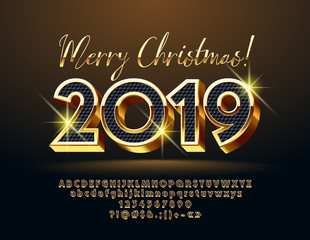 Vector luxury greeting card merry christmas with unique font