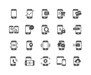 Minimal Set of Mobile Phone Flat Icon