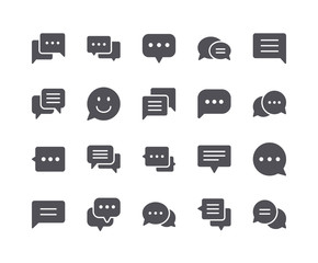 Minimal Set of Chat Bubble Flat Icon
