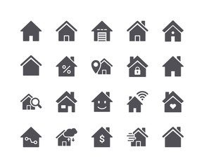 Minimal Set of Smart Home Flat Icon