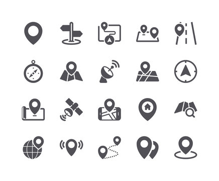 Minimal Set of Map and Location Flat Icon