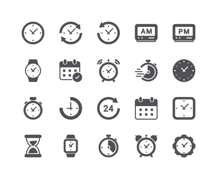 Minimal Set of Time and Clock Flat Icon