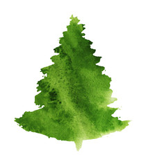Christmas tree painted silhouette, isolated on white background, watercolor illustration for design