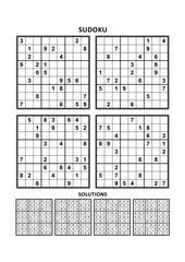 Four sudoku puzzles of comfortable (easy, yet not very easy) level, on A4 or Letter sized page with margins, suitable for large print books, answers included. Set 15.