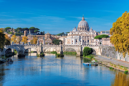 Rome Skyline with Vatican St Peter Basilica at sunny autumn day, Rome Italy.