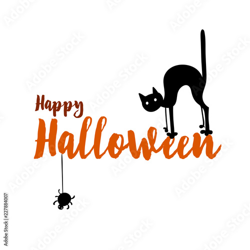 happy halloween party title logo template spider and web cat
