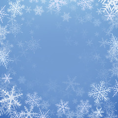 Winter christmas background, frozen with snowflakes