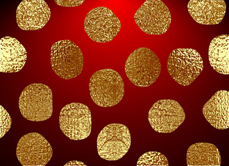 Golden circles . Bronze Polka dot. Gold glitter round background for the Christmas card, invitation. Copper Holiday Decorative element. Illustration of falling shiny particles on white background.