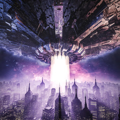 The invasion continues / 3D illustration of science fiction scene with giant alien spaceship hovering in the sky over downtown district of large modern city at night