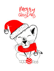 Hand drawn vector illustration with a cute baby lion celebrating celebrating a Merry Christmas - isolated on white background for print cards and web banner