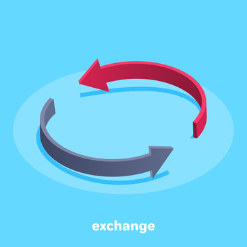 isometric image on a blue background, the icons in the form of arrows denoting the exchange