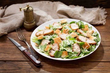 plate of chicken caesar salad