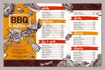 Barbecue Restaurant Menu. Template Design Of Bbq Brochure In Sketch Style