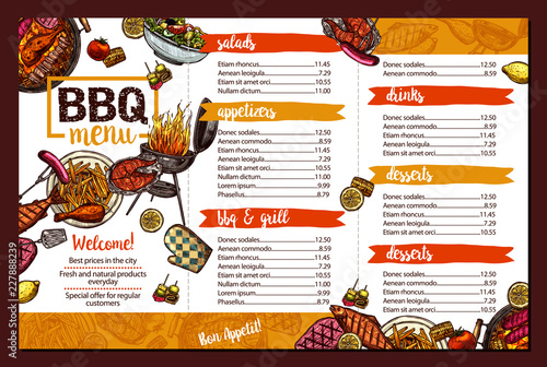 barbecue restaurant menu template design of bbq brochure in sketch
