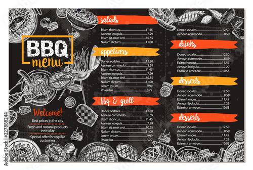 Barbecue Restaurant Menu Template Design Of Bbq Brochure In Sketch