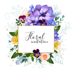 Floral cute background with watercolor effect