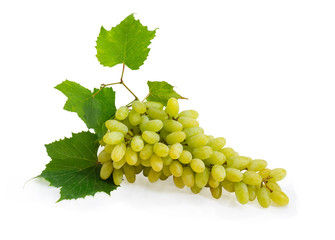 Cluster of the table white grapes with leaves
