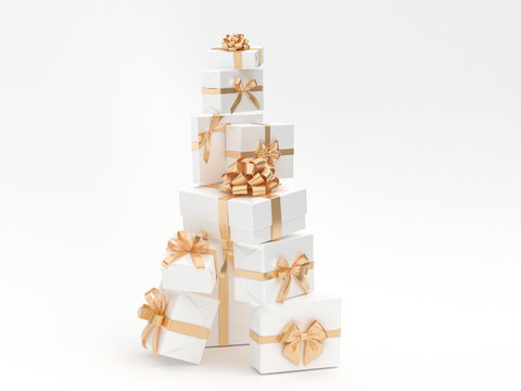 Gifts stack with golden ribbon isolated white background. 3d render