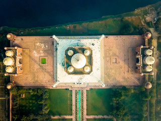 Aerial view of Taj Majal in Agra India covered with morning fog