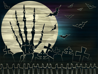 Happy Halloween card with zombie hand , vector illustration