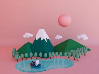 cartoon mountain background 3d render.