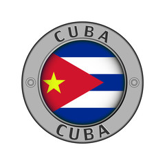Medallion with the name of the country of Cuba and a round flag