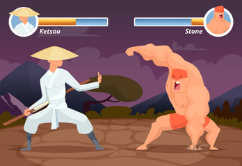 Game fighting. Screen location of computer 2D gaming asian fighter vs wrestler luchador vector background. Video game screen app, battle and combat player illustration