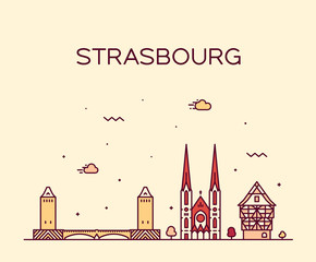 Wall Mural - Strasbourg city skyline Grand Est France vector