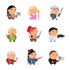 Game fantasy characters. Computer 2d gaming fairy tale mascot sprite cartoons knight soldiers elf rpg shooter vector. Illustration of character cartoon game knight and magician