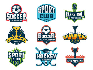 Sport emblem. Super star world cup competition badges logos and vector sticker. Sport competition logo and emblem, tournament and championship illustration