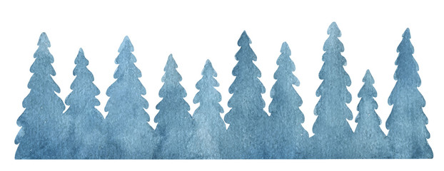 Watercolor vector background with fir trees.
