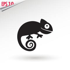chameleon icon. Flat symbol. Isolated sign chameleon on white background. Vector Illustration.