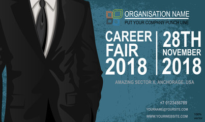 Career fair flyer & poster. Job offer vector EPS 10 isolated on white background. The choice of the best suited employee. Businessman costume as a symbol of chosen one by the recruiter.