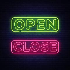 Open Close Neon Text Vector. Open Close neon signboard, design template, modern trend design, night neon signboard, night bright advertising, light banner, light art. Vector illustration