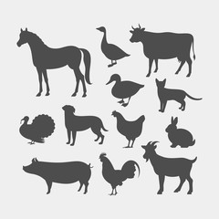 Farm animals silhouettes. Horse, cow, pig, goat, rabbit, cat, dog, goose, chicken, duck, rooster, turkey vector silhouettes