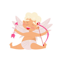 Laughing angel sitting isolated on white background. Baby boy with little wings, pink bow and arrow in hands. Flat vector design