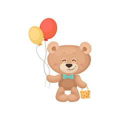 Smiling teddy bear holding balloons and little bag. Adorable plush toy. Flat vector for Birthday greeting card or children book