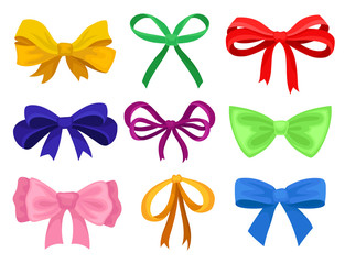 Flat vector set of different bows made of bright ribbons. Decorative elements for gift card, advertising poster or flyer