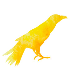 watercolor silhouette of a crow