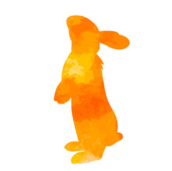 vector, white background, isolated, watercolor silhouette of a rabbit