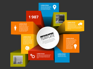 Vector 3D cubes infographic template
