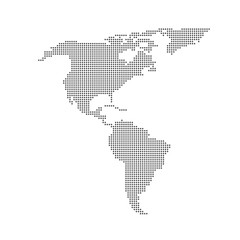 Grey dotted North and South America map vector flat design