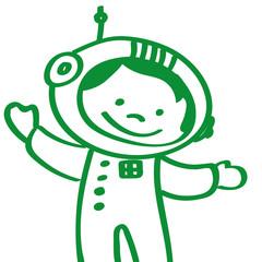 Handgezeichneter Astronaut in grün